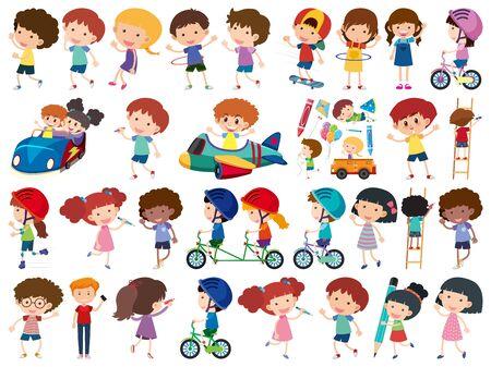 Large set of isolated objects of kids illustration Ilustração