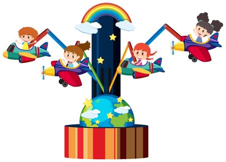 Four kids on airplane ride at circus illustration Ilustração