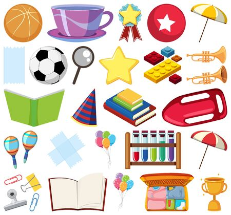 Set of isolated objects theme school  illustration Ilustracja