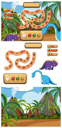 Set of game with dinosaurs and volcano illustration