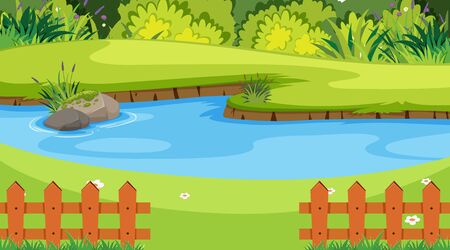 Nature scene with river in the park illustration Ilustração