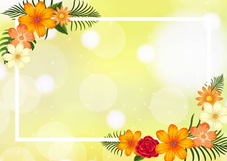 Frame template design with yellow flowers illustration