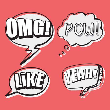 Expression words design for four words illustration