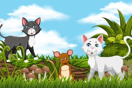 Cats and mouse in jungle scene illustration Ilustração
