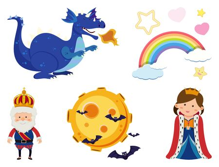 Set of isolated objects theme fairytale illustration Ilustração