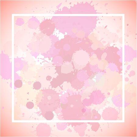 Frame template design with pink splashes illustration