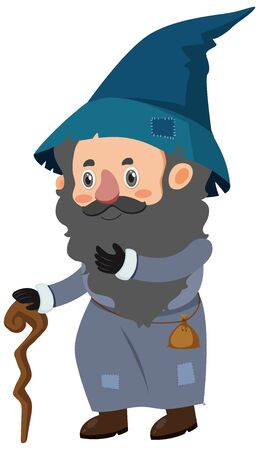 Single character of wizard on white background illustration