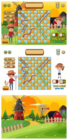 Set of game templates with famers and barns illustration