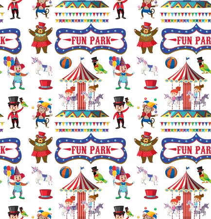 Seamless background design with circus theme illustration