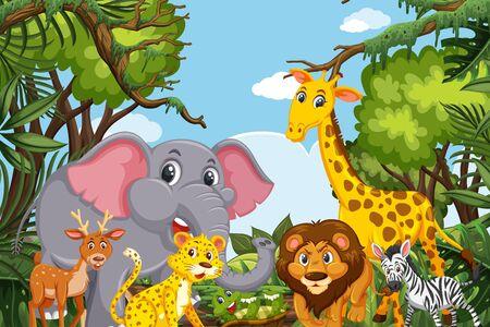 Animales lindos en la ilustración de la escena de la selva