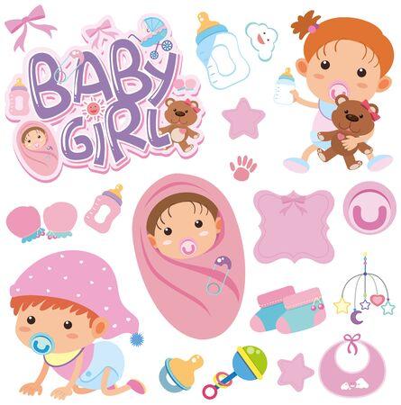Conjunto de ilustración de bebé de tema de objetos aislados