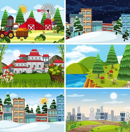 A set of outdoor scene including farm illustration