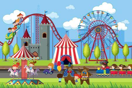 Amusement park scene with ferris wheel illustration Ilustração