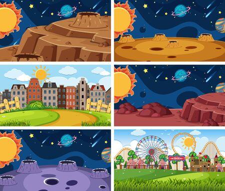 A set of outdoor scene including space illustration Ilustração
