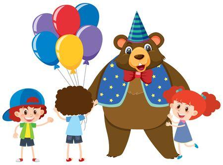 Circus bear and three kids illustration Ilustração