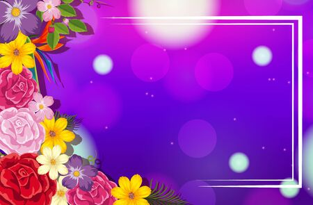 Frame template design with colorful flowers illustration