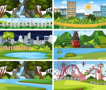 A set of outdoor scene including park illustration