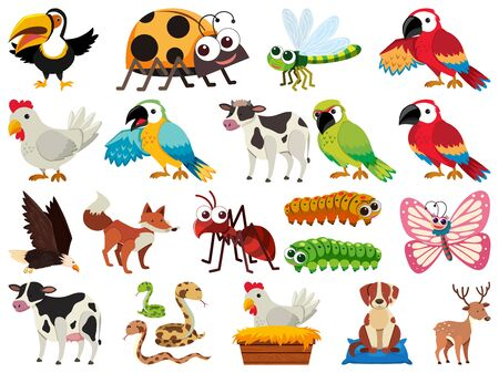 Set of isolated objects theme animals illustration