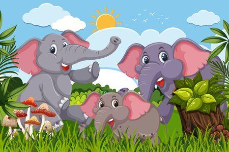 Elephants in nature scene illustration Ilustração
