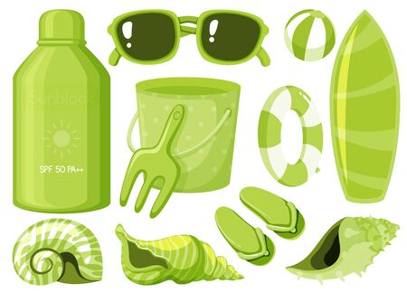 Isolated set of summer items in green color illustration