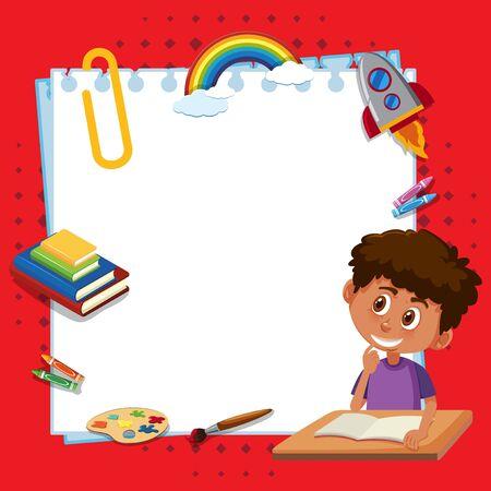 Frame template design with boy reading book illustration Ilustracja