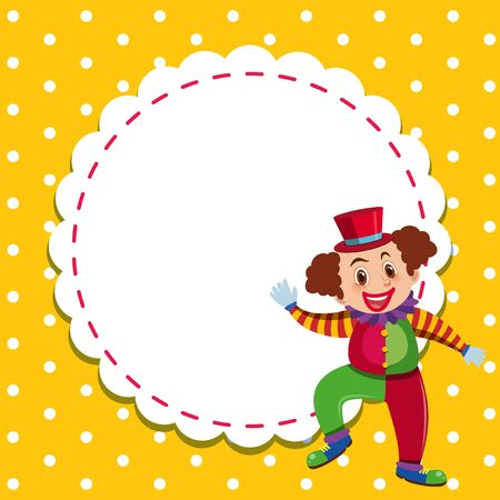 Frame template design with happy clown illustration