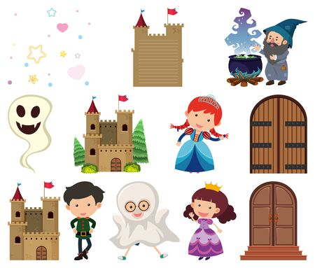 Set of isolated objects theme fairytales illustration Ilustrace