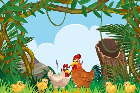 Chickens in jungle scene illustration