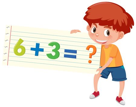 Boy holding math question of addition illustration Ilustrace
