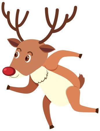 Single character of reindeer on white background illustration Ilustração