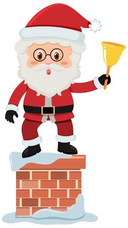 Single character of Santa on white background illustration Ilustração