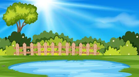Landscape background design of park with pond illustration