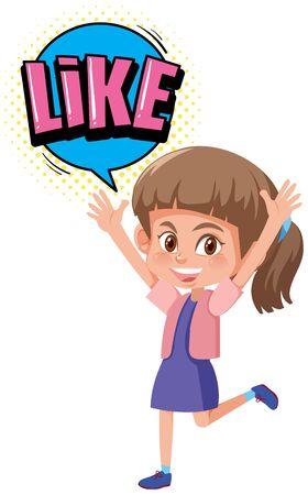 Girl with expression word like illustration Ilustração