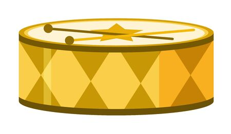 Isolated drum in yellow color illustration