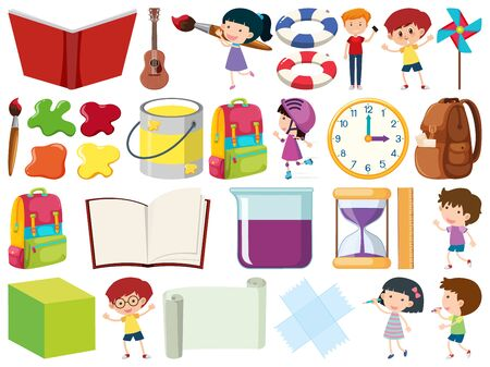 Set of isolated objects theme kids and school illustration