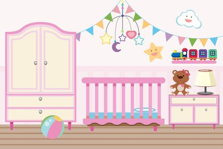Baby room with crib and closet illustration