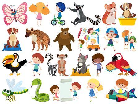 Set of isolated objects theme animals illustration