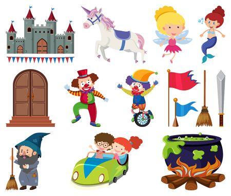 Set of fairytale characters on white background illustration Çizim