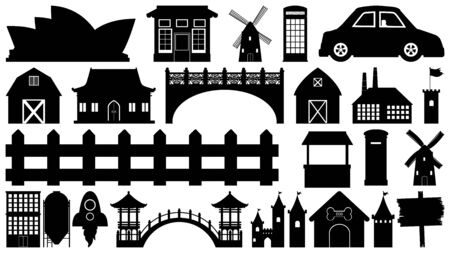 Set of sihouette isolated objects theme - buildings illustration