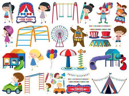 Gran conjunto de objetos aislados de niños y circo ilustración
