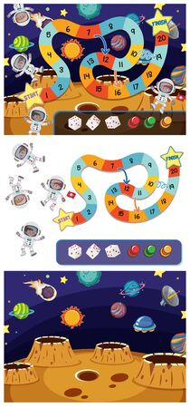 Set of game templates with astronauts in space illustration Ilustrace