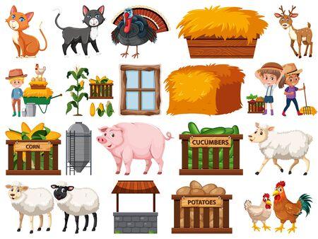 Large set of isolated farm objects illustration 일러스트