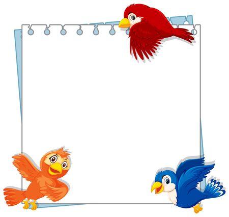 Plantilla de diseño de marco con ilustración de tres pájaros