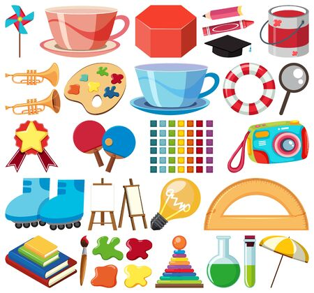 Set of isolated objects theme school illustration