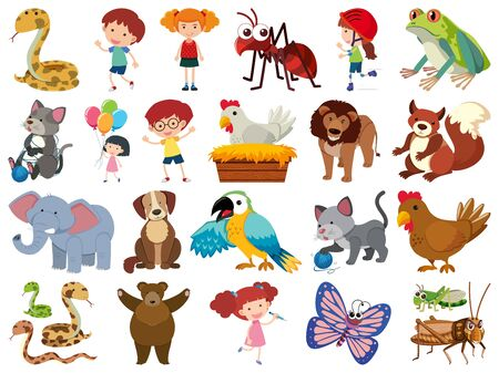 Set of isolated objects of kids and animals illustration