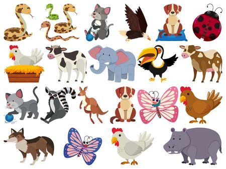 Set of isolated objects of animals illustration Illusztráció