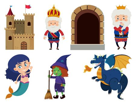 Set of isolated objects theme fairytales illustration 스톡 콘텐츠 - 133797643