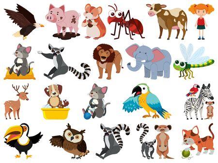Conjunto de ilustración de animales de tema de objetos aislados