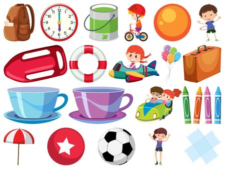 Set of isolated objects with children and balls illustration