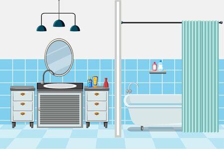 Bathroom with tub and sink illustration